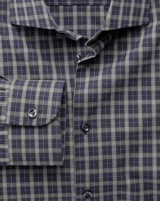 Extra slim fit semi-spread collar business casual melange navy and grey check shirt