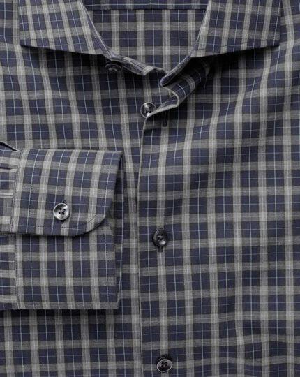 Chemise business casual bleu marine et grise en tissu mélangé extra slim fit à carreaux et à col semi cutaway