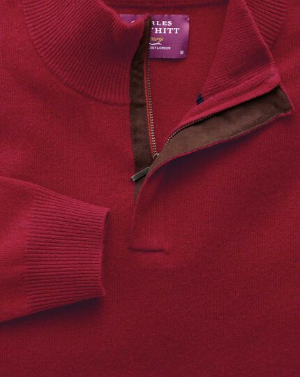 Red cashmere zip-neck jumper