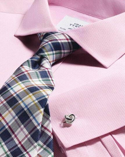Slim fit cutaway non-iron puppytooth light pink shirt