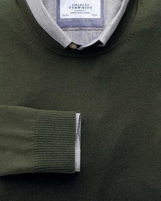 Dark green merino wool crew neck sweater