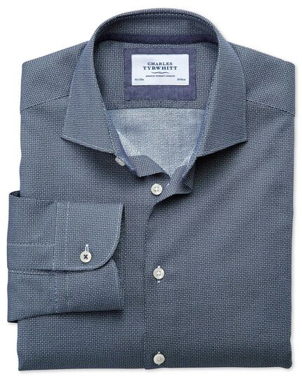 Classic fit semi-spread collar business casual circle print navy shirt