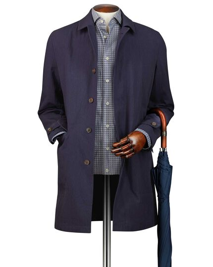 Navy Italian cotton raincoat