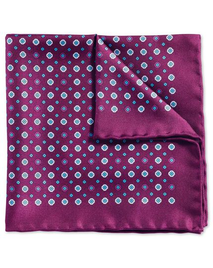 Purple classic printed geometric pocket square