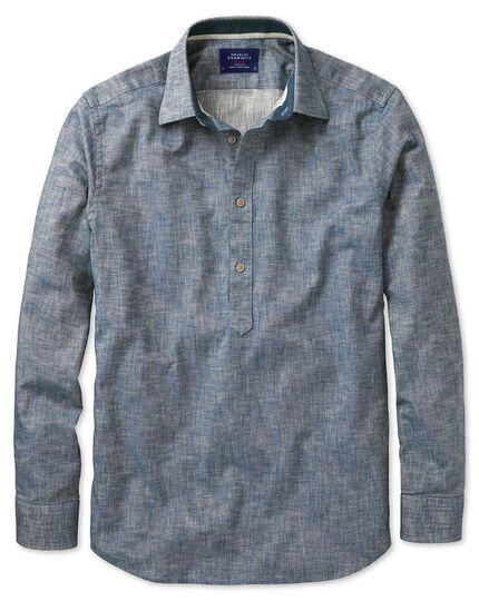 Classic fit popover herringbone denim blue shirt