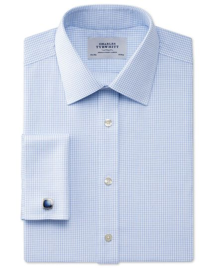 Slim fit non-iron Windsor check sky blue shirt