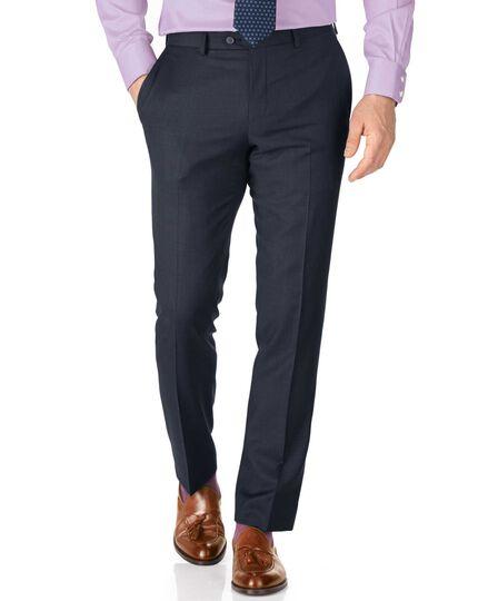 Blue slim fit sharkskin travel suit pants