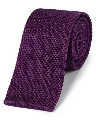 Dark purple silk slim knitted classic tie