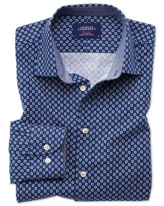 Slim fit blue and white geometric print shirt