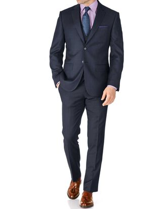Blue slim fit sharkskin travel suit