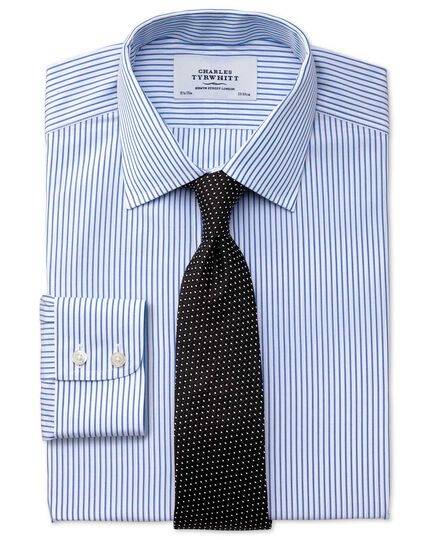 Slim fit non-iron stripe white and blue shirt
