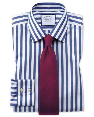 Extra slim fit non-iron Jermyn street stripes blue shirt