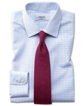 Chemise bleu clair slim fit à petits carreaux simples sans repassage