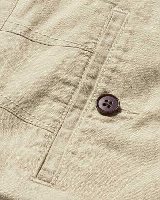 Short gris clair en coton et lin