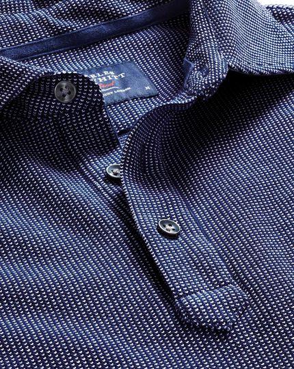 Blue and white birdseye long sleeve polo