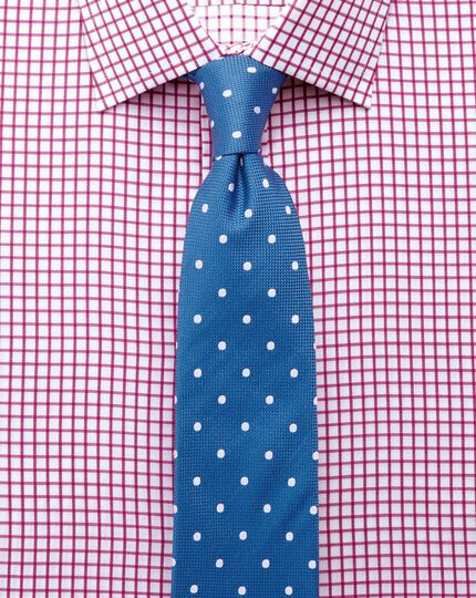Extra slim fit twill grid check fuchsia shirt