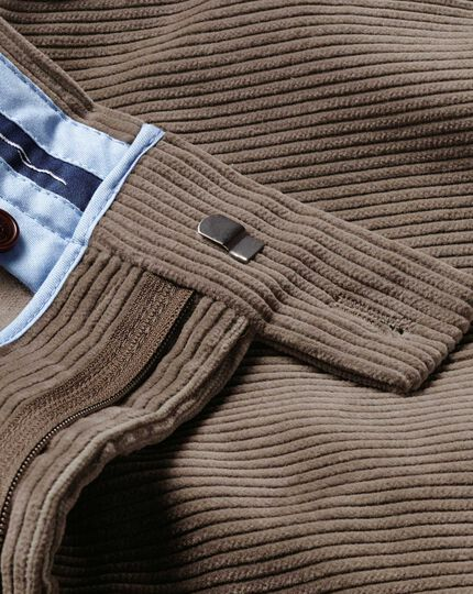 Beige slim fit jumbo cord pants