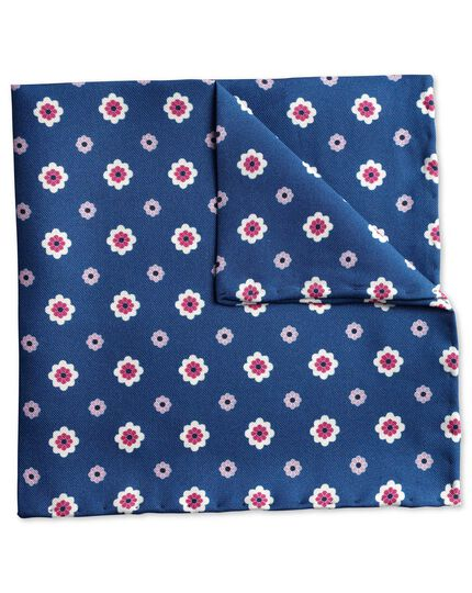 Blue printed floral classic pocket square