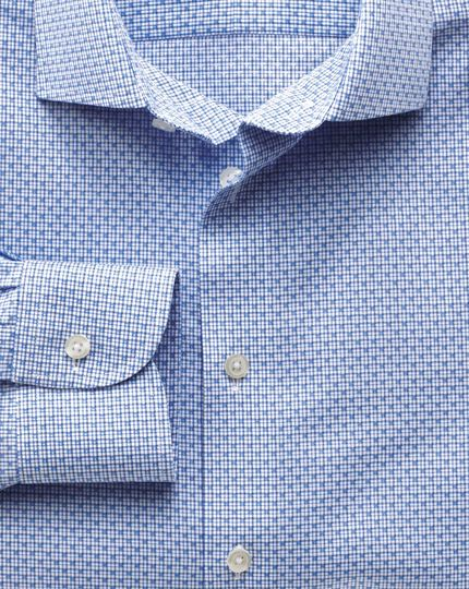 Extra slim fit semi-spread collar non-iron business casual grid check sky blue shirt