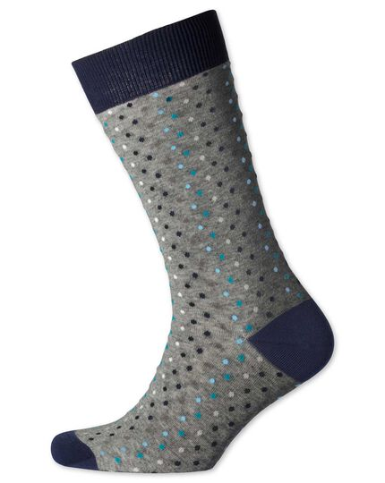 Grey multi dot socks