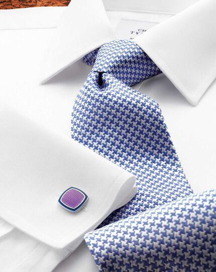 Royal blue silk classic puppytooth tie