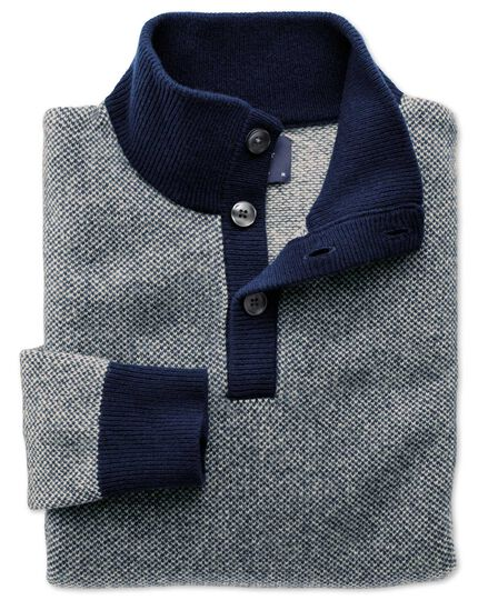 Blue jacquard button neck sweater