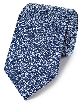 Cravate classique bleu roi en soie à micro-feuilles