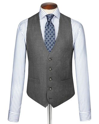 Mid grey twill business suit waistcoat