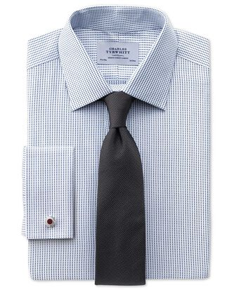 Extra slim fit Pima cotton double-faced navy shirt