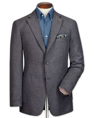 Classic fit grey semi-plain cotton jacket