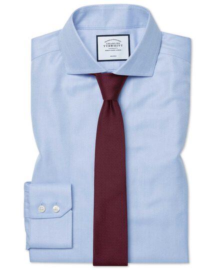 Extra slim fit spread collar non-iron herringbone sky blue shirt