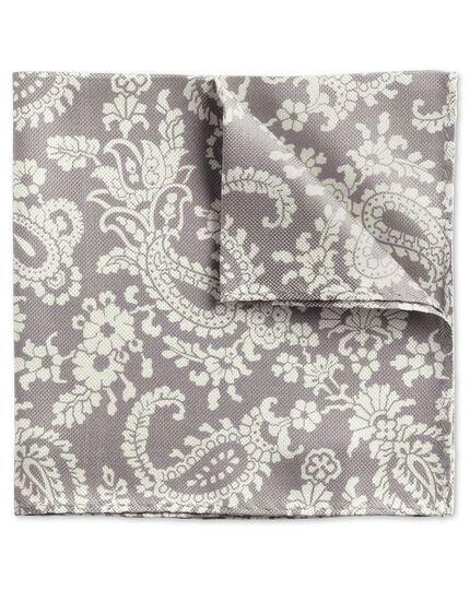 Grey classic paisley pocket square