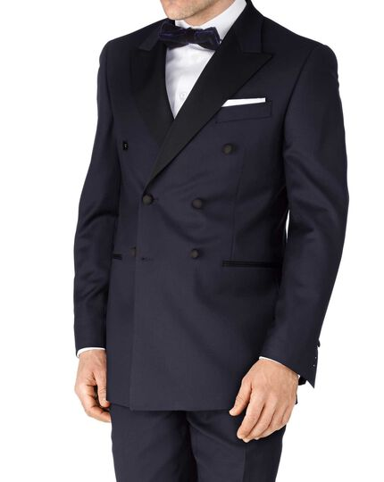 Navy slim fit double breasted dinner suit jacket