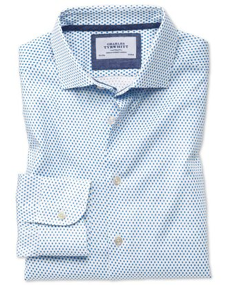 Classic fit semi-cutaway business casual diamond print white and blue shirt