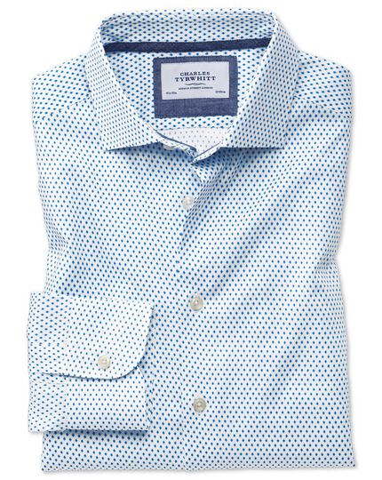 Slim fit semi-spread collar business casual diamond print white and blue shirt
