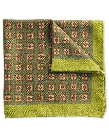 Green and purple luxury Italian wool silk pocket square