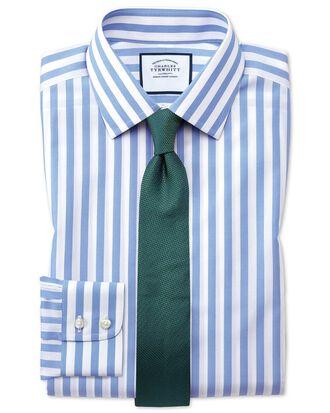 Chemise bleu ciel coupe droite à rayures Jermyn Street sans repassage