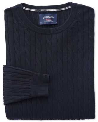 Navy cotton cashmere cable crew neck sweater