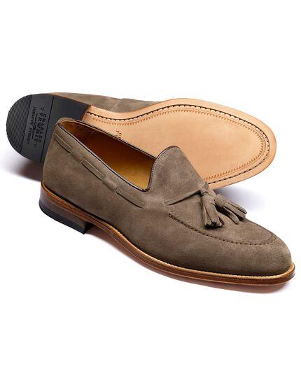 Beige Keybridge suede tassel loafers