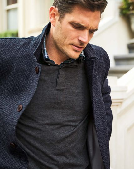 Charcoal merino wool button neck sweater