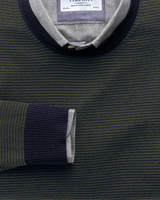 Dark green and navy stripe merino wool crew neck jumper