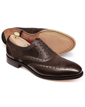 Brown Fonston brogue wing tip Oxford shoe