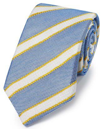 Blue and gold silk mix grenadine stripe Italian luxury tie