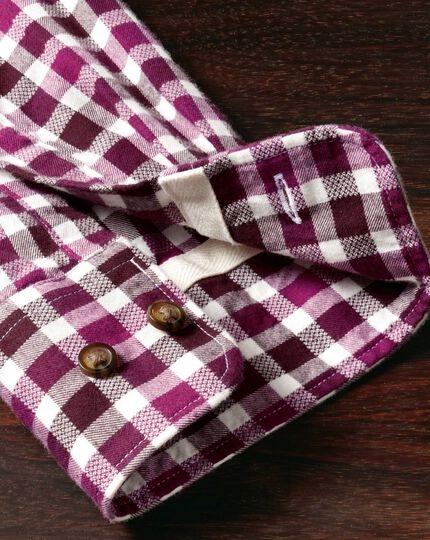 Slim fit berry check brushed dobby shirt