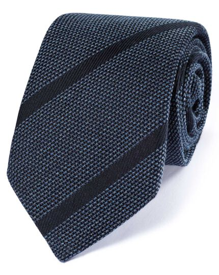 Navy silk mix Italian luxury stripe grenadine tie