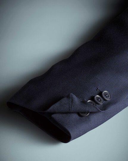 Veste de voyage bleu marine œil-de-perdrix slim fit