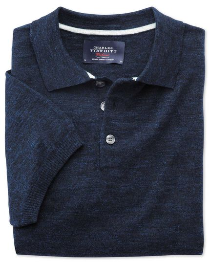 Navy blue heather short sleeve polo collar jumper