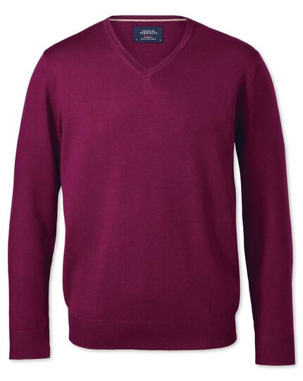 Berry merino v-neck jumper