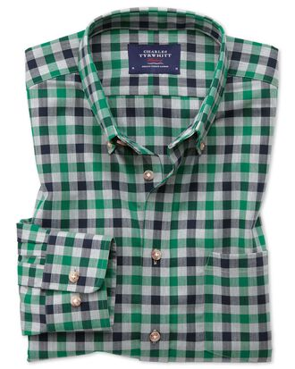 Slim fit button-down non-iron twill green and navy gingham shirt