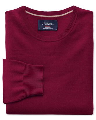 Dark red merino wool crew neck jumper